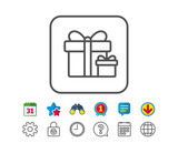 Gift boxes line icon. Present sign.