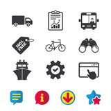 Transport icons. Truck, Bicycle, Bus and Ship.