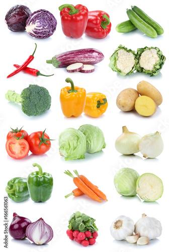 Gemüse Karotten frische Tomaten Paprika Salat Zwiebeln Collage Freisteller freigestellt isoliert