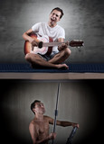 Man at night can't relax because of the noisy neighbor with guitar. - 166566695