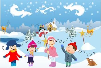 Dzieci śpiewają kolędę