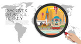 Travel infographic. Istanbul  infographic tourist sights of Turkey,World Map with Magnifying Glass,hand holding magnifying glass,Discover Turkey concept.