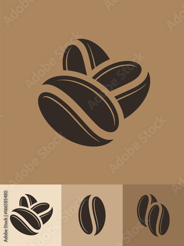 Sticker Coffee. Icon set. Abstract coffee beans on brown background
