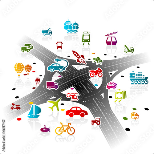 Transport Infrastructure concept illustration with modern highway crossroad
