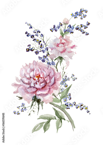 Fresh pink peonies and small bluebells on white background.  Watercolor painting. Hand drawn. Vertical orientation. Can be used for greeting cards, wallpapers, fabric, wrapping paper © katiko2016