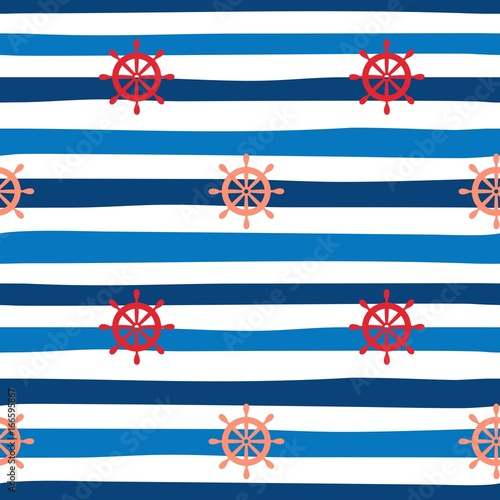 Cotton fabric Seamless marine background with watercolor lifebuoy on stripe