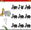 Постер, плакат: shadow game activity with safari animals