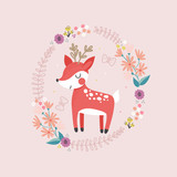 cute little deer with floral wreath