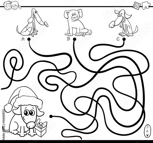 paths maze game with dogs for coloring