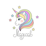Cute Magical Unicorn Head Wall Sticker
