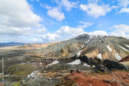 farbige Berge durch Vulkanismus, Landmannalaugar, Island © Hans-Martin Goede