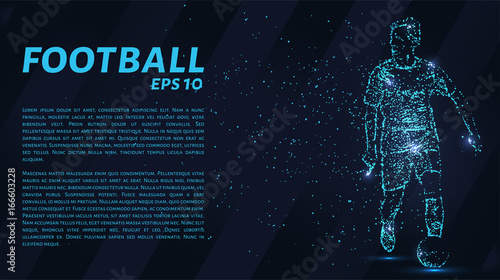 Wall mural Football which consists of points. Particles in the form of a football player on dark background. Vector illustration. Graphic concept soccer