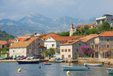 Mediterranean village of Lepetane on a summer day. Bay of Kotor, Tivat, Montenegro