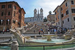 Roma, piazza di Spagna - Trinità dei Monti e la barcaccia