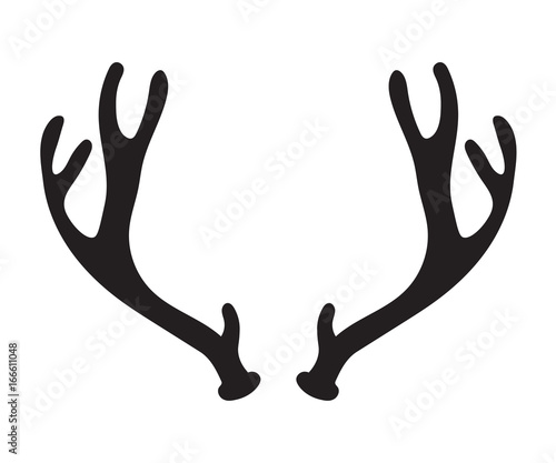 Fotobehang Hipster Hert black silhouette of deer antlers- vector illustration