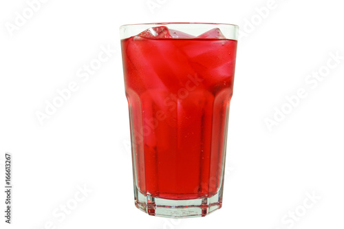 Strawberry favour soft drink in clear glass isolated on white background Poster
