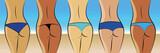 frauen in bikinihöschen am strand - 166621899