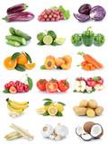Obst und Gemüse Früchte Apfel Tomaten Bananen Orangen Zitrone Farben Collage Freisteller freigestellt isoliert