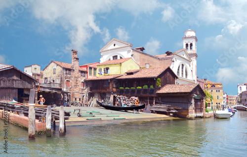 Spoed canvasdoek 2cm dik Venetie Atelier de réparation de gondoles à Venise