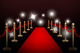 Realistic vector red event carpet , gold barriers and flashes. Design template in EPS10.