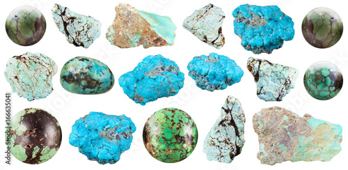 bead from old green turquoise mineral gem stone