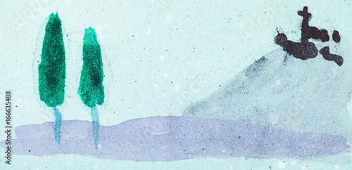 landscape on blue colored paper