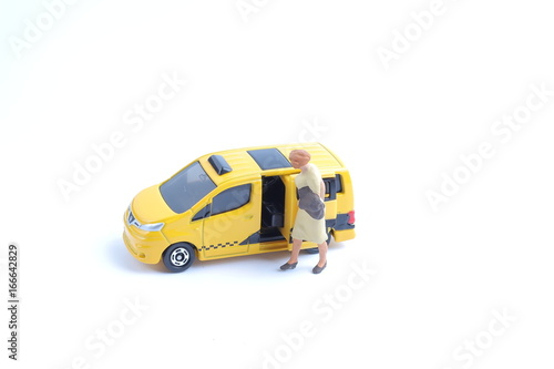 small figure of taxi with white board