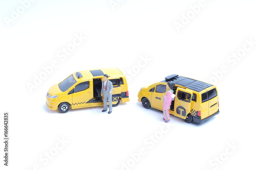 Foto op Plexiglas New York TAXI small figure of taxi with white board