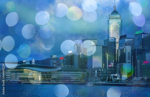 Stampa su Tela Hong Kong Harbor View at night with circle bokeh