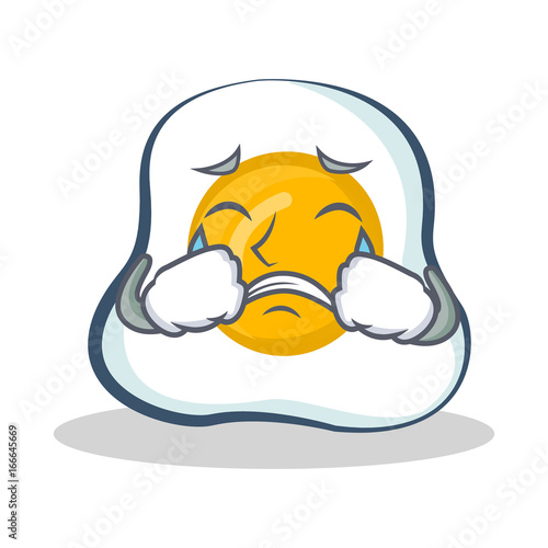 Crying fried egg character cartoon