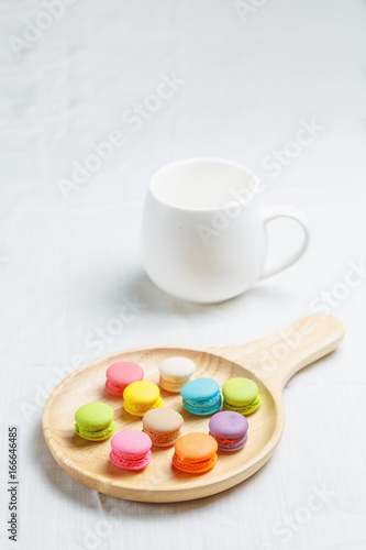 Foto op Canvas Macarons Colorful macarons cake on white background