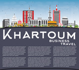 Khartoum Skyline with Gray Buildings, Blue Sky and Copy Space.