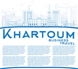 Outline Khartoum Skyline with Blue Buildings and Copy Space.