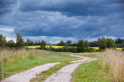 Foto op Canvas Pistache Storm clouds in the countryside. Abstract holiday and holiday background