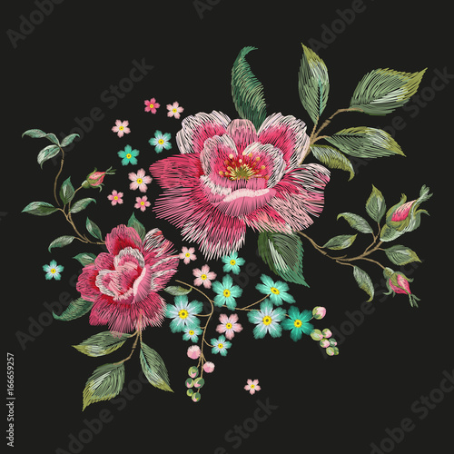 Embroidery fashion floral pattern with pink roses. Vector traditional embroidered patch with flowers on black background for clothing design. - 166659257