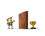 Business man in front of a brick wall has difficulty reaching his goal. Isolated, white background