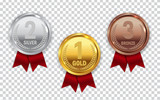 Champion Gold, Silver and Bronze Medal with Red Ribbon Icon Sign - 166665440