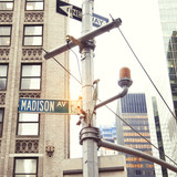 Madison Avenue road sign, New York City