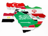 Middle East countries covered with country flags. 3D illustration - 166670064