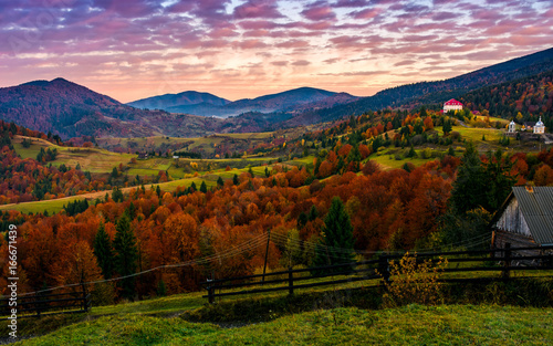 exquisite autumn sunrise in mountainous countryside