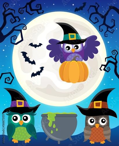 Tuinposter Voor kinderen Halloween image with owls theme 5