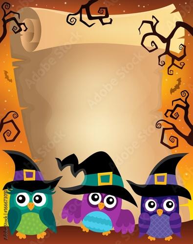 Tuinposter Voor kinderen Halloween parchment with owls theme 2