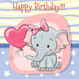 Cute Cartoon Elephant with balloon