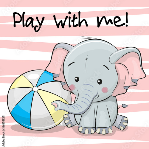 Cute Elephant with a ball