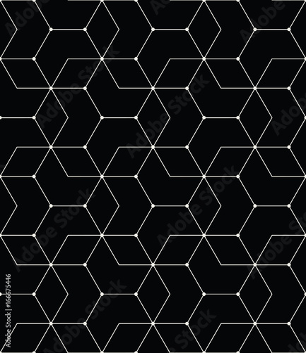 seamless geometric line grid vector hexagon pattern - 166675446