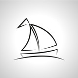 A simple vector illustration of a boat. Fountain sketch. - 166678261