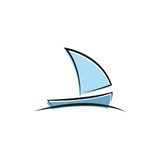 A simple vector illustration of a boat. Fountain sketch. - 166678290