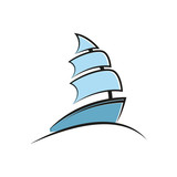 A simple vector illustration of a boat. Fountain sketch. - 166678297