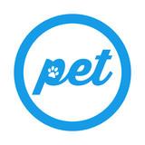 Icono plano pet con huella gato en circulo color azul - 166678670