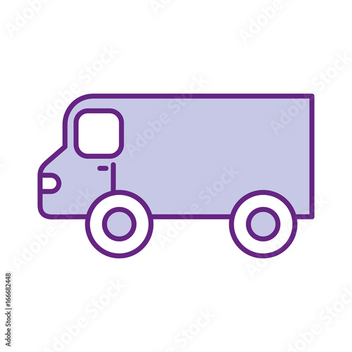 Sticker van vehicle isolated icon vector illustration design